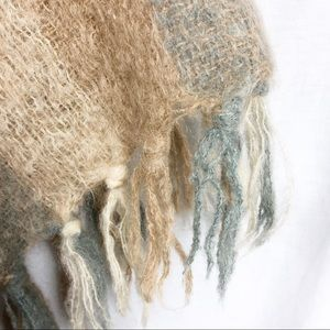 Sweaters - Boho tan and cream stripe Mohair and wool poncho
